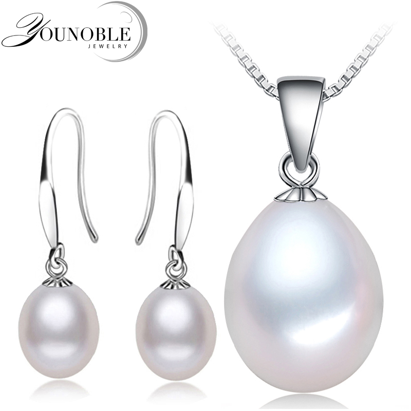 Real Natural Pearl Jewelry Sets Silver 925 Women,Freshwater Pearl Earring Set Pendant Necklace White Daughter Birthday Best Gift