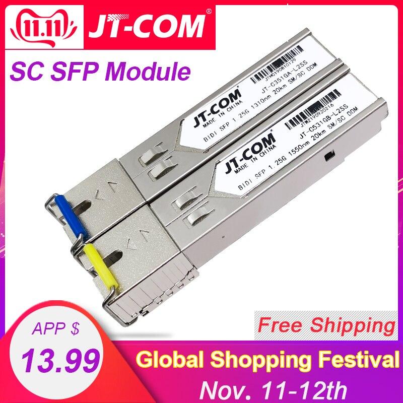 2pcs SFP Module SC Connector Gigabit DDM BIDI Mini Gbic 1000Mbps Optical Tranceiver Module Compatible With Mikrotik Cisco Switch