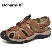 Large Size 48 Men Sandals Cow Leather Fashion Mens Roman Sandals