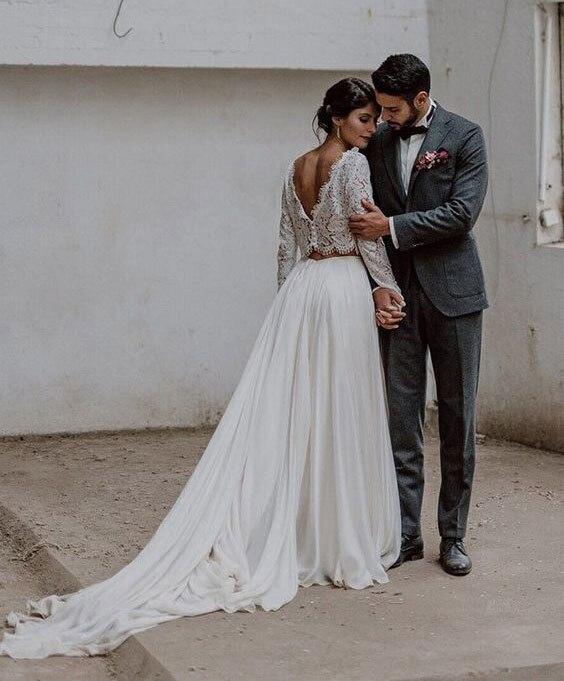 Купить свадебное платье бохо в стиле ретро из двух частей с длинным