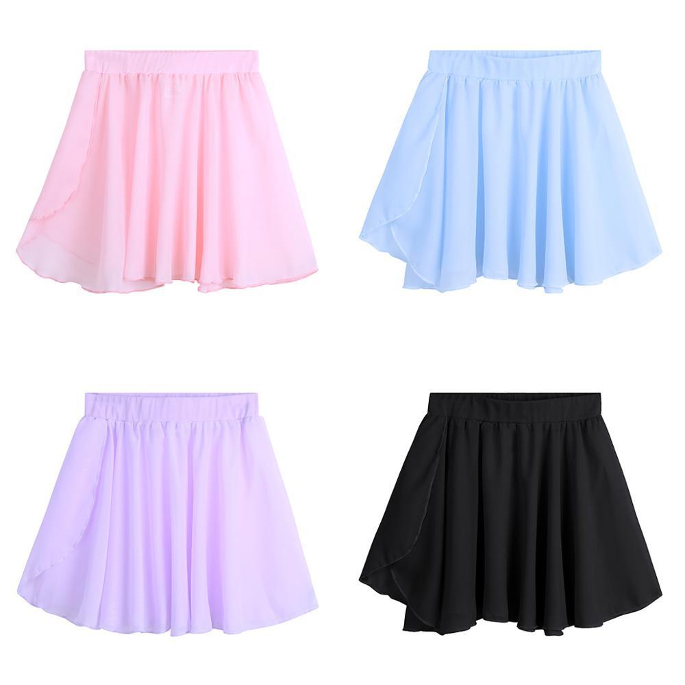 TiaoBug Cute Child Ballet Skirt Basic Classic Chiffon Mini Pull-On Wrap Dance Skirt For Girls Gymnastics Ballerina Dance Class