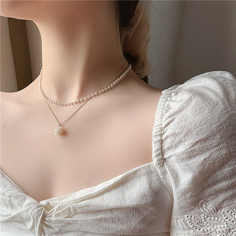 2020 Korean new design fashion jewelry elegant white pearl double necklace summer style sexy clavicle female necklace
