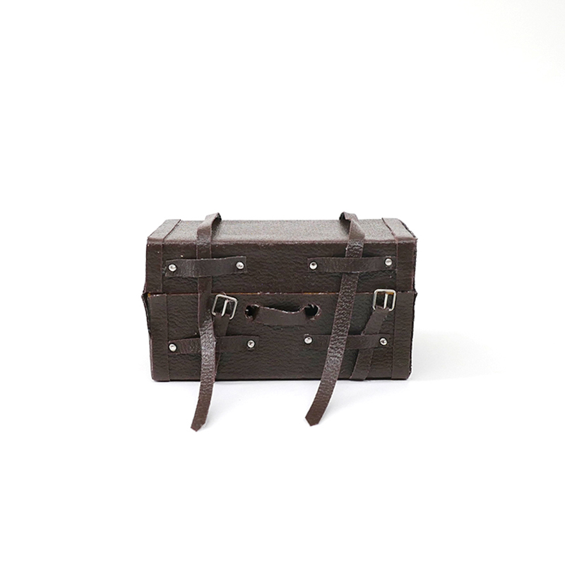 Doll House Miniature Furniture Doll Old Suitcase Leather Trunk for 1:12 bjd Doll Accessories Display Girl Gift Kids Doll DIY Toy