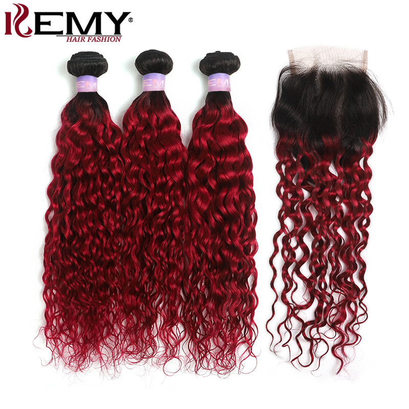 1B/99J Burgundy Brazilian Water Wave Human Hair Bundles With Lace Closure 4x4 Ombre Red Hair Weave Extension Non-Remy KEMY HAIR