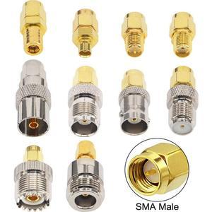 Image 2 - 10 Set di tipo SMA Kit Adattatore SMA maschio a N/F/BNC/UHF/MCX/SMB/TV/TNC maschio Dritto Nichel Placcato Oro Prova Convertitore