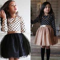 Vestido de invierno de manga larga para niña, vestidos de princesa con lunares, ropa informal para fiesta de cumpleaños
