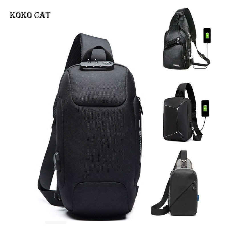 Male Anti-theft Shoulder Messenger Bags Multifunction Crossbody Bag For Men Waterproof Short Trip Chest Bag Pack Mochila Hombre
