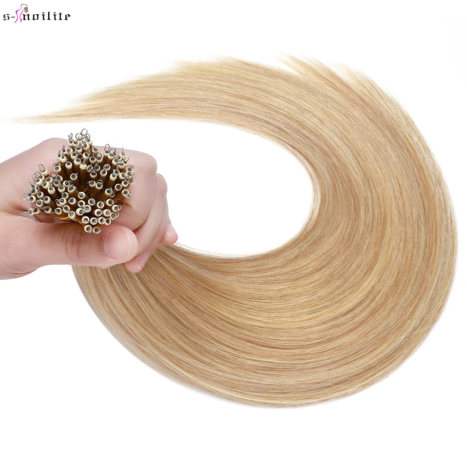 S-noilte 1g/strand Nano Rings Straight Human Hair Hair Extensions Micro Bead Pre-bonded 18inch 50pcs Natural Non-Remy Blonde