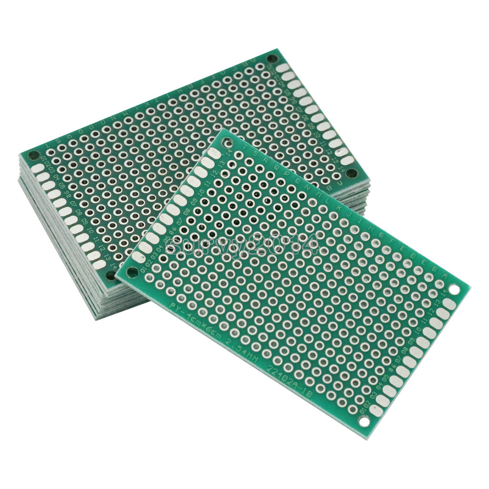 10PCS FR-4 Double Side Prototype PCB 280 Points Hole Tinned Universal Breadboard 4x6cm 40mmx60mm