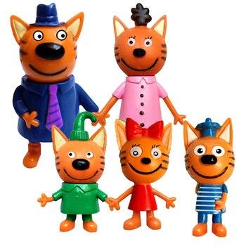 5 Pcs Russian Anime Kitten Doll Cartoon Toys Russian Cat Statue Children Christmas Toys Plastic 1