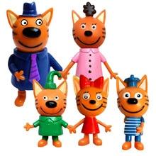 5 Pcs Russian Anime Kitten Doll Cartoon Toys Russian Cat Statue Children Christmas Toys Plastic