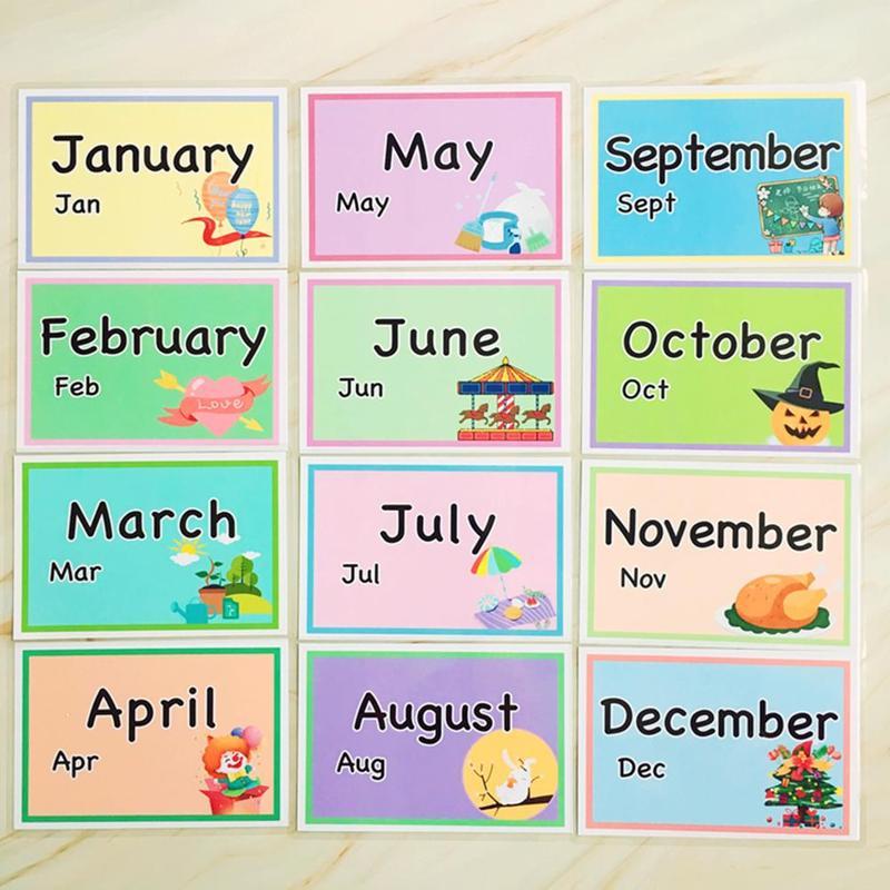 Montessori crianças mês inglês palavra cognitiva flashcards ajuda de ensino crianças brinquedo educacional precoce inglês palavras cartões de aprendizagem