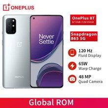 A rom global oneplus 8 t 8 t snapdragon 865 5g smartphone 8/12gb 256gb 120hz fluído expositor 48mp quad câmeras 65w urdidura carga