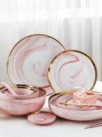 Скандинавские столовые приборы керамические позолоченные диск розовая мраморная текстура западное блюдо Романтическая Свадебная Посуда ...