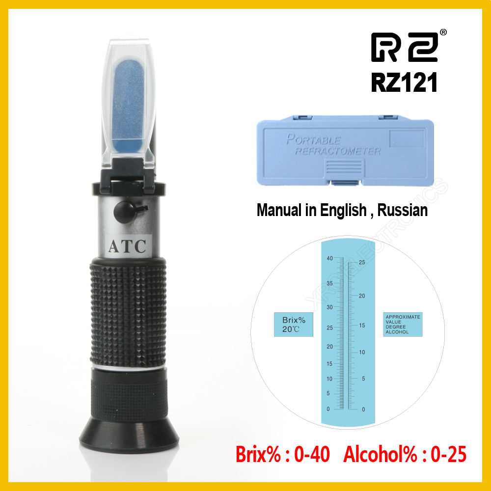 RZ Alcohol Refractometer Sugar Grape Wine Concentration 0~25% Alcohol 0~40% Brix Tester Meter ATC Wine Refractometer