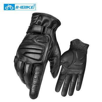 INBIKE Men Goatskin Leather Cycling Gloves 5mmThickened EVA Pad Motorcycle Gloves Touch Screen Motorbike MTB Bike Bicycle Gloves