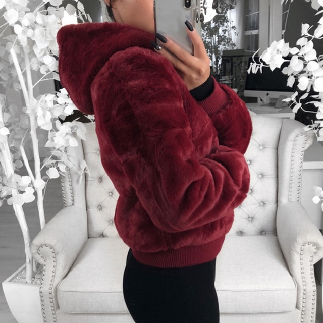 2020 New Faux Fur Women Coat With Hood High Waist Fashion Slim Black Red  Faux Fur Jacket Fake Rabbit Fur Coats 1
