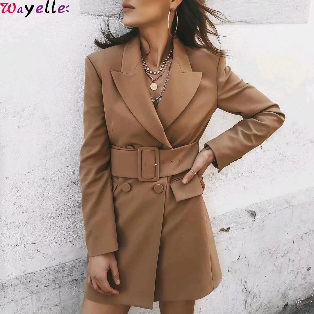 Women Blazers and Jackets 2019 Khaki  Autumn Winter Office Ladies Blazers Suits Elegant Long Sleeve Women Blazers With Belt