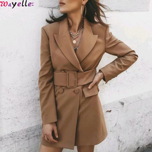 Women Blazers and Jackets 2019 Khaki  Autumn Winter Office Ladies Suits Elegant Long Sleeve With Belt