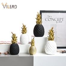 Фигурки-миниатюры VILEAD в виде ананасов из смолы, 3 размера, золотые, черные, белые фрукты, модель, поделки для украшения дома