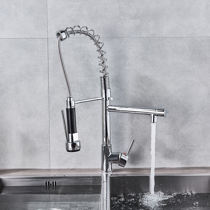 H6ef950ca271a4edb83d281cf458fc4efr Uythner Black Brass Kitchen Faucet Vessel Sink Mixer Tap Spring Dual Swivel Spouts Hot and Cold Water Mixer Tap Bathroom Faucets