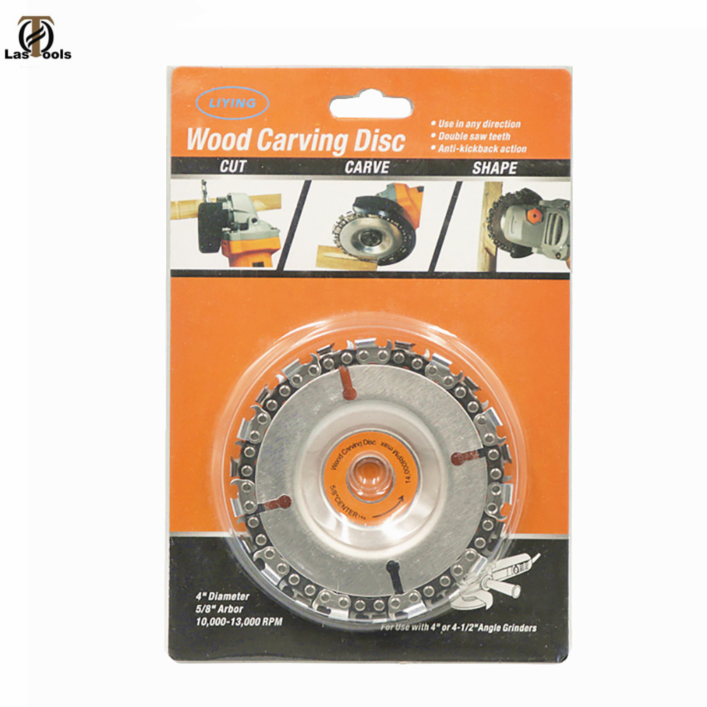 4 Inch Grinder Disc And Chain 22 Tooth Fine Cut Chain Set For 100/115 Angle Grinder Woodworking Carving Grinding And Cutting