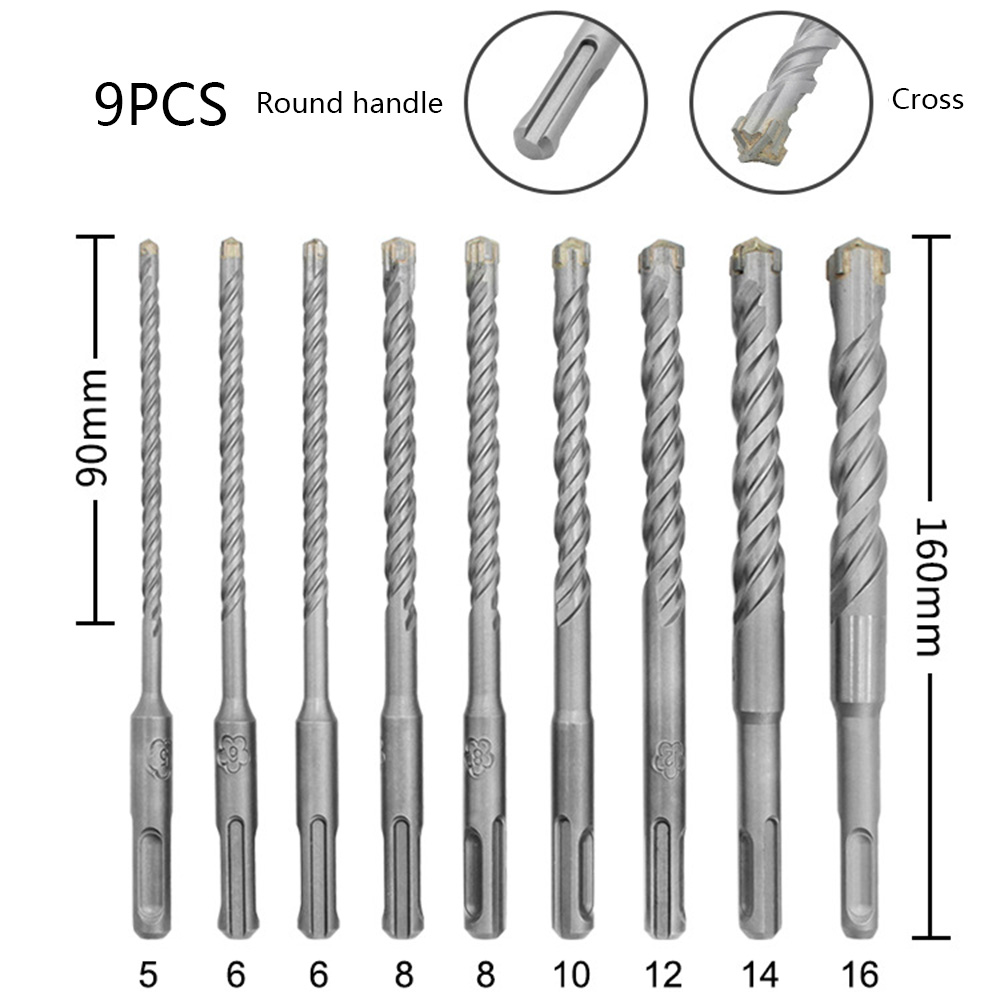 9pcs/set 160mm Round Shank Electric Hammer SDS Plus Drill Bit Set For Concrete Wall Brick Block Masonry Hole Saw Drilling Bits