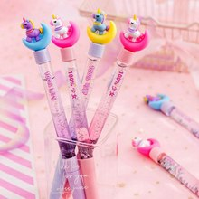 1 Piece Cute Unicorn Moon Quicksand Liquid Black 0.5mm Pen Head Gel Pen For Office School Student Stationery Supplies(China)