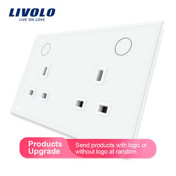 Livolo Manufacturer  UK Standard Wall Power Socket,  White Crystal Glass Panel, 13A Wall Outlet,  VL-W2C2UK-11/12 - DISCOUNT ITEM  10% OFF All Category