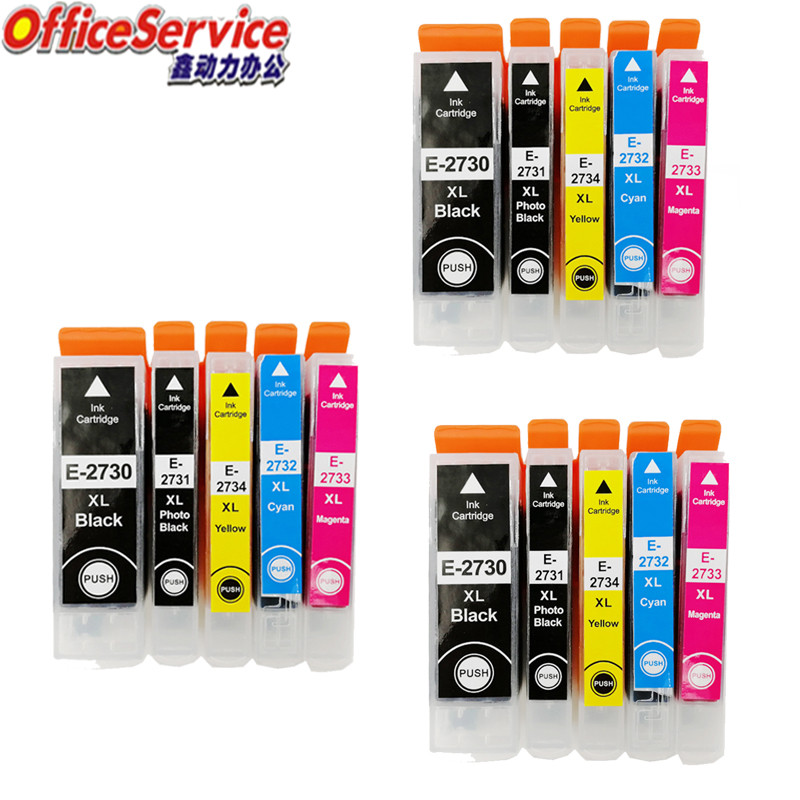 3 Sets Compatible ink Cartridges T2730 T2731 T2732 T2734 For <font><b>Epson</b></font> Expression Premium <font><b>XP</b></font>-510 600 <font><b>610</b></font> 700 710 800 810 printer image