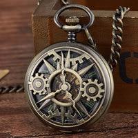 New Arrival Steampunk Retro Hollow Gear Movement Mechanical Pocket Watch FOB Pendant Gift Chain Pocket Watch Gift Men Boy Clock