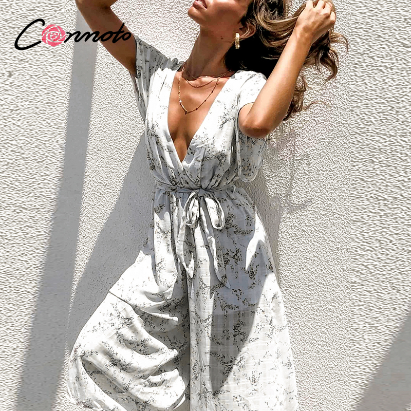 Conmoto Chiffon Sexy Beach Summer 2020 Women Jumpsuits Casual Deep V Bow White Jumpsuit Rompers Femme Bow Deep V Long Rompers
