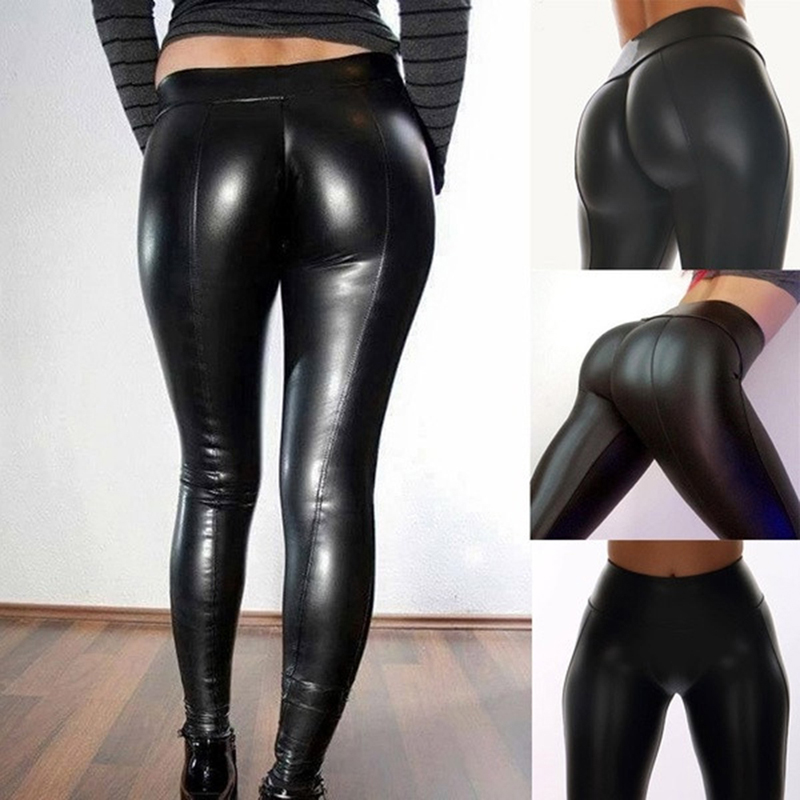High Waist Faux Leather Leggings For Women Black Femme Fitness PU Leggings Sexy Push Up Slim Pants Workout Long Trousers S-XL