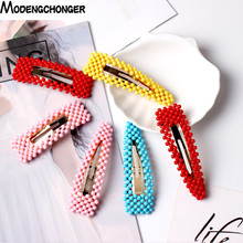 2020 Sweet Hair Ornament Hairpin Barrettes For Women Girls  New Fashion Colorful Pearl Hair Clip Hairgrips Hair Accessories Hot ubuhle fashion women full pearl hair clip girls hair barrette hairpin hair elegant design sweet hair jewelry accessories 2019