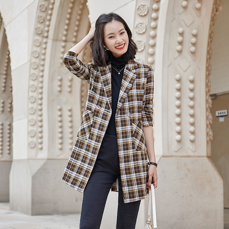 Women's Mid-Length Plaid Suit Jacket 2020 New Style for Autumn and Winter Elegant British Style Short-Height Suit Coat Coats