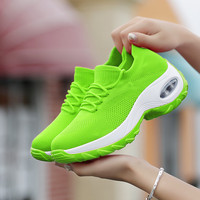 2019 Hot Sale Women Cushion Shoes Breathable Fly Weave Walking Shoes Increasing Height Sock Shoes Female Outdoor Walking Shoes