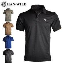 HAN WILD-camisetas militares táctico para hombre, Polos de secado rápido de manga corta, camisetas ligeras para exteriores, senderismo y Camping