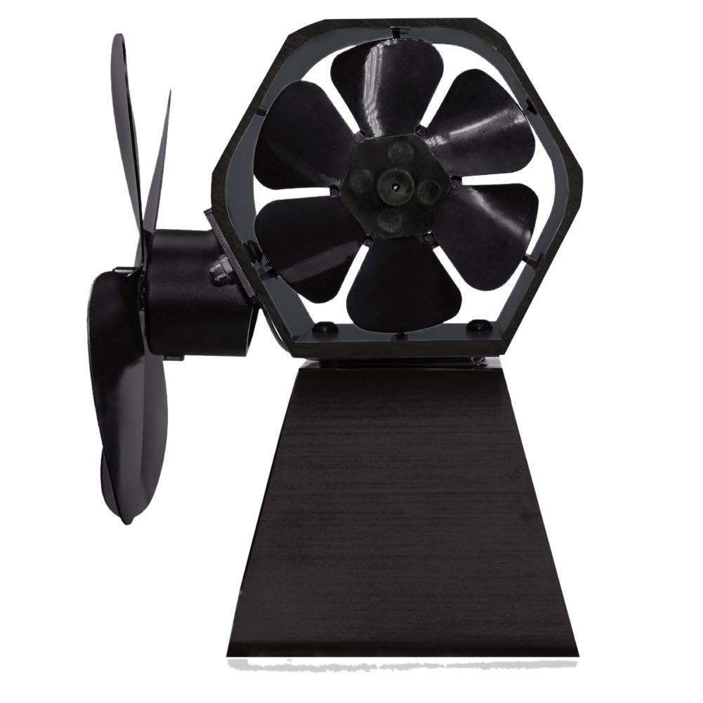 Europe Style Heat Powered Stove Fan Log Wood Burner Ecofan Quiet Black Home Fireplace Fan Efficient Heat Distribution