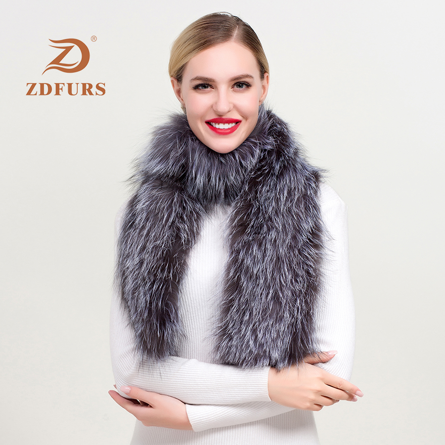 ZDFURS*2019  winter fashion solid warm versatile silver fox fur scarf long pattern neckerchief temperamental fox fur shawl warps