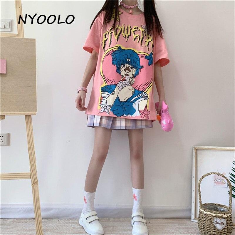 NYOOLO Lolita Style Cartoon Kawaii Girl Letters Print Short Sleeve T-shirt Women Cloth Top Summer Street Loose O-neck Tee Shirt