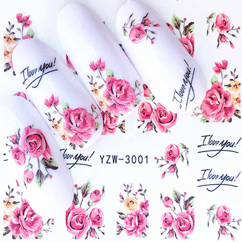 1 Pcs Indah Rose Blue Flamingo Stiker Kuku Air Decals Wanita Putih Bunga Cat Butterfly Transfer Nail Art Dekorasi