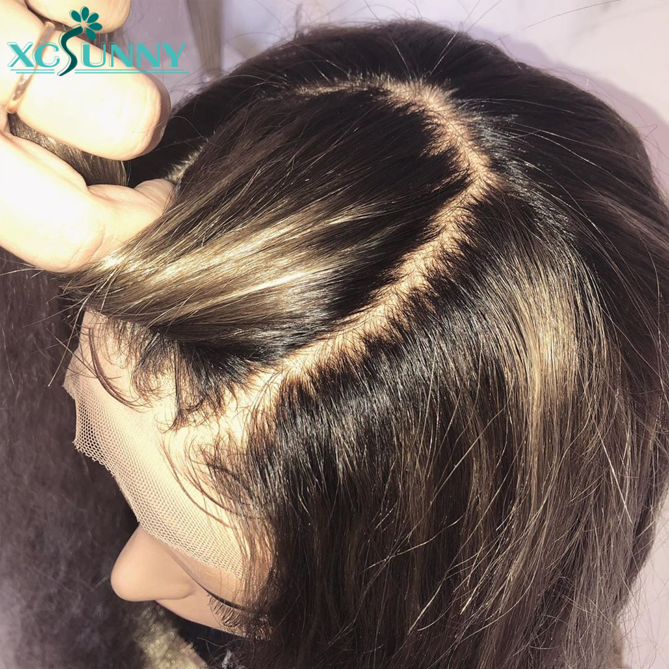 5x5 Silk Emulation Scalp Top Straight Lace Front Human Hair Wigs Remy Brazilian Frontal Wig With Baby Hair Pre Plucked xcsunny