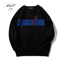RLJT.JIN Adolescent Chinese style is contracted recreational pure color sweater mens Unique decoration on the back