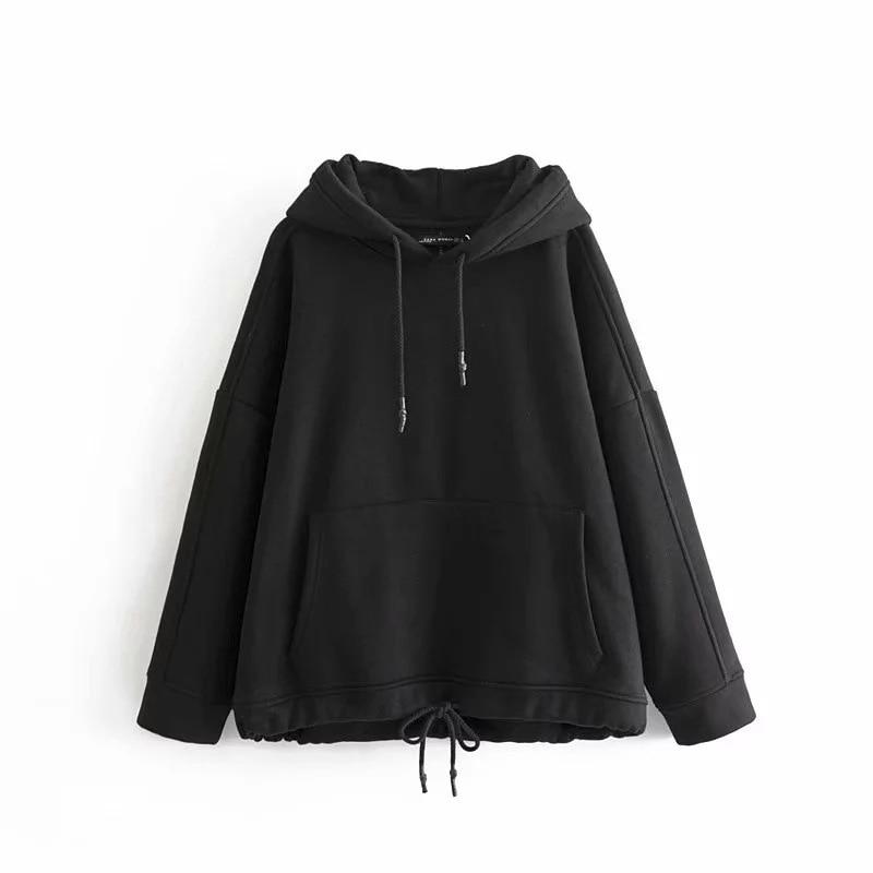 Women Long Sleeve Hoodie Solid Color Casual Pocket Sweatshirt