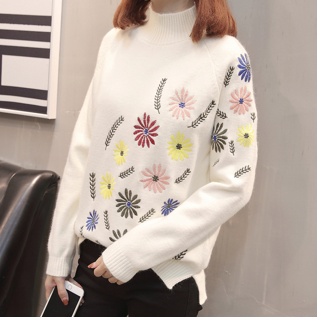 Neploe New Autumn Winter Sweater Elegant Floral Embroidery Pulover Long Sleeve Causal Jumper Female Loose Knitwear Tops