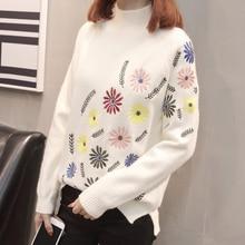 Neploe nowy jesienno zimowy sweter eleganckie kwiatowe hafty Pulover z długim rękawem przyczynowy sweter kobiecy luźna dzianina topy