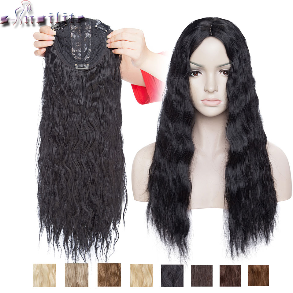 S-noilite 14inch 3.5*2 Water Wave Topper Hairpiece Synthetic Clip In One Piece Hair No Bang Black Brown Toupee Hair For Women