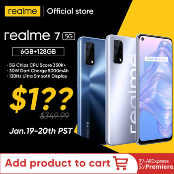 World Premiere realme 7 5G Dimensity 800U Smartphone 6GB 128GB 120Hz Display 48MP Camera 5000mAh Global Version 30W Dart Charge