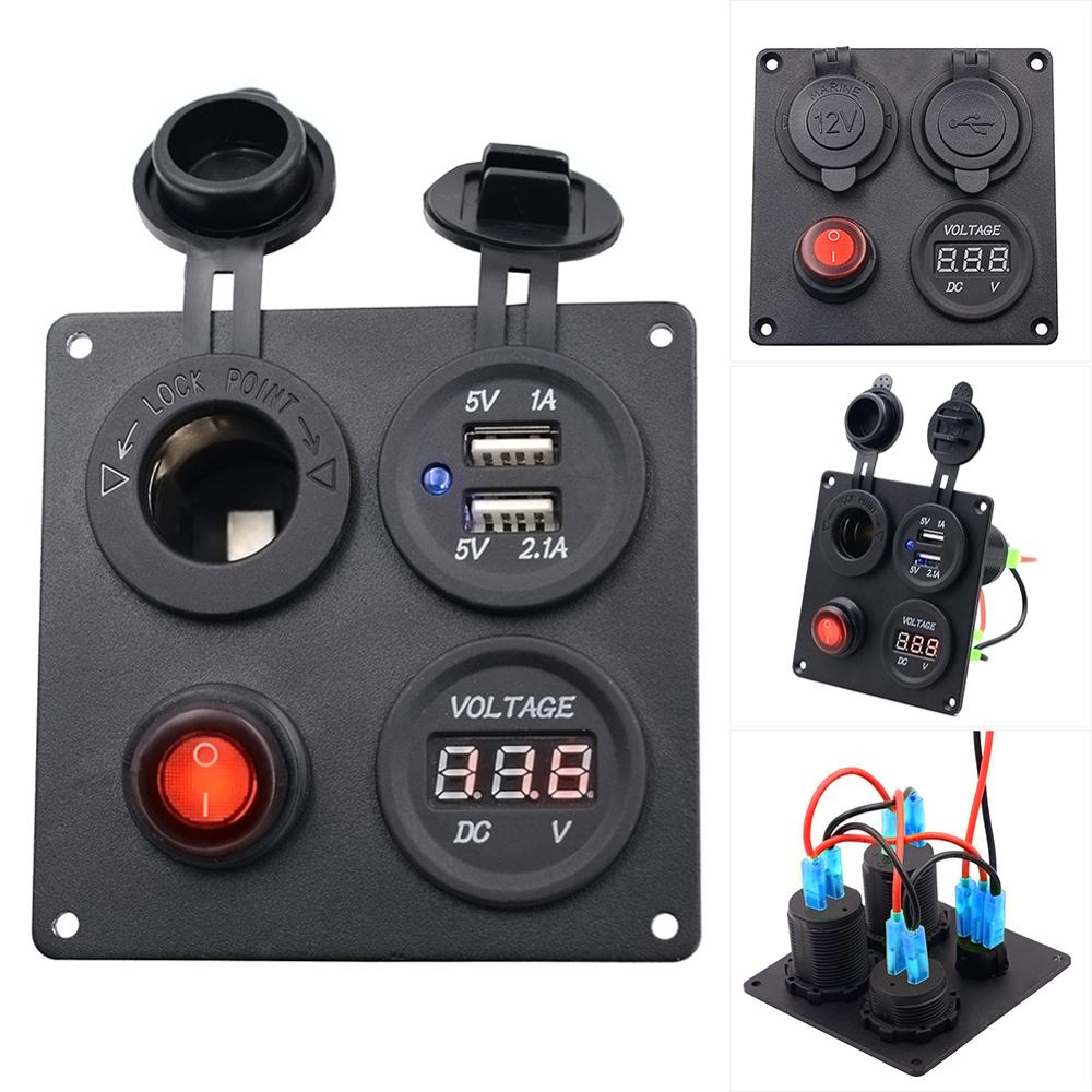 12V/24V ON-OFF Button Switch Panel Dual USB Socket Charger Red LED Voltmeter For Boat Car Truck Motorcycle ATV Marine