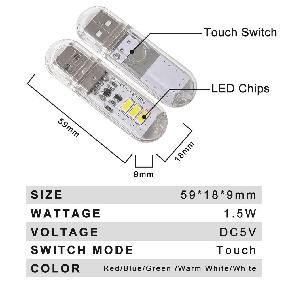 Touch Switch DC5V USB LED Mini Book Light 1.5W LED Desk Reading Lamp Red Blue Green White Portable Flexible USB LED Night Lights 2